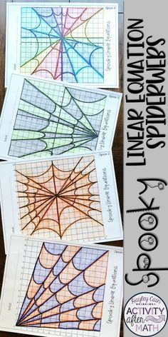 Spooky Graphing Linear Equations Spiderwebs Halloween Math ActivityThis is a great holiday math activity where students graph linear equations to create Spooky Spiderwebs! There are four options to choose from making . Maths Halloween, Halloween Activities, Math College, Line Math, Graphing Activities, Math Games, Math Projects, Math Crafts, 7th Grade Math