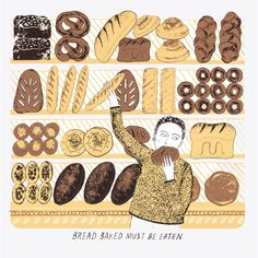 Browse and buy 'Bread Baked' limited edition screen print by Alice Pattullo at Soma Gallery. Alice Pattullo is an illustrator and printmaker based in London. She graduated in 2010 with a First Class Honours in Illustration from Brighton University. Food Illustrations, Illustration Art, Illustration Children, Cake Story, Limited Edition Prints, Bread Baking, Prints For Sale, Printmaking, Screen Printing