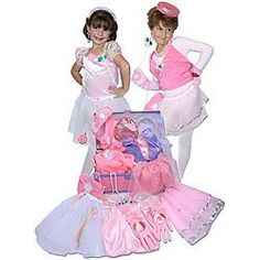 Dress Up For Girls Princess Trunk 26 Pieces(Jewlery to Shoes) by Pinnacle Import. $62.09. Set includes: Shimmer top, pink top, white skirt, pink skirt, pink tutu, sequin pants, 1 pair of gloves, rose wand, sequin headband, wedding veil, shimmer headband, sequin hat, handbag, 4 small hair wig decoration, 1 pair of play shoes, 2 rings, 1 pair of earrings, beaded necklace and beaded bracelet. This all fits in a sturdy cardboard trunk.