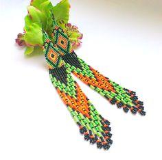 Extra Long Seed Bead Earrings-Ethnic Dangle Long Beaded от Galiga
