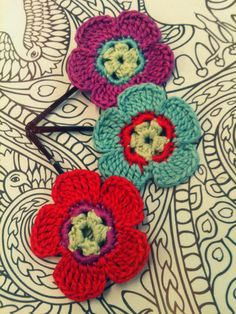 Crochet Flower Hair Pins Purple Red and Blue by CatWomanCrafts, $10.00
