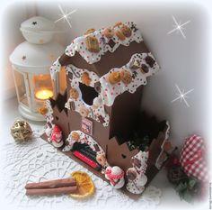 """Купить """"Merry Christmas"""". Чайный домик с конфетницами и со светом внутри. - коричневый, чайный домик"""