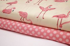 Flamingos Fabric on Banana - Ta Dot in Petal - 2 Yard Bundle - Michael Miller