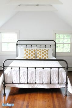 Simple and serene guest room makeover.  betterafter.net. Love love this bed