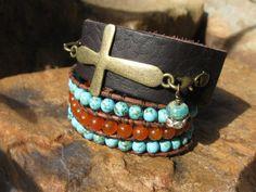 Leather cuff bracelet interchangeable charms by fleurdesignz.etsy.com