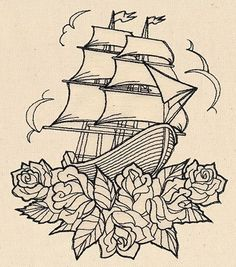 Thread Tattoos  Ship and Roses | Urban Threads: Unique and Awesome Embroidery Designs Embroidery Loves | tattoos picture urban tattoo designs