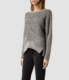 All Saints // Womens Mesa Sweater (LIquorice/Chalk)