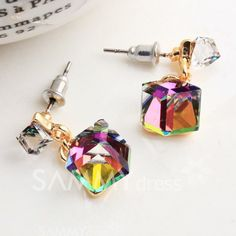 $3.78 Pair of Exquisite Colored Faux Crystal Cube Earrings For Women
