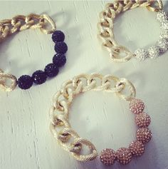 quero todas! http://www.etsy.com/listing/110781280/clear-pave-bead-and-chain-bracelet?ref=v1_other_2