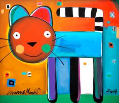 Cat - Luciano Martins Picasso Paintings, Paintings I Love, Art Drawings For Kids, Art For Kids, Luciano Martins, Fiber Art Jewelry, Kids Canvas, Funky Art, Doodle Designs