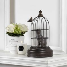 It's the cat's turn to be in the cage! This whimsical figure is perfect for cat lovers - made of resin, its beauty will last for years. Unique Home Decor, Bird Cage, Scented Candles, Home Accents, Decorating Your Home, Cat Lovers, Living Spaces, Whimsical, The Incredibles
