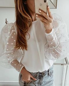 Dot Mesh Lantern Sleeve Casual Blouse Women's Online Shopping Offering Huge Discounts on Dresses, Lingerie , Jumpsuits , Swimwear, Tops and More. Look Fashion, Fashion Outfits, Womens Fashion, Modelos Fashion, Mode Inspiration, Mode Style, Pattern Fashion, Shirt Sleeves, Blouse Designs