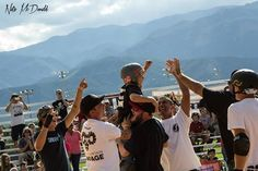 """Evan Doherty """"big E"""" celebrating his first 900 on Vert at age 11, at Rocky Mountain Rampage 2014"""