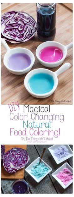 Why buy food coloring when you can make your own? Not only is it easy, but you can make beautiful colors using natural ingredients. This one is the coolest type ever, a natural, color changing food coloring! (art crafts for kids food coloring) Parfait, Real Food Recipes, Yummy Food, Pasta Casera, Natural Food Coloring, Blue Food, Diy Food, Food Hacks, Cooking Hacks