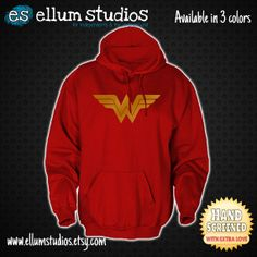 Wonder Woman Unisex Hooded Sweatshirt. 3 Colors Available. Printed With Eco Friendly Water-Based Ink. on Etsy, $25.00