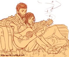 """""""After all this, I'll teach you how to play guitar"""" Art Sketches, Art Drawings, Side View Drawing, The Lest Of Us, Character Art, Character Design, Overwatch, Edge Of The Universe, Guitar Drawing"""