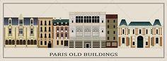 Six Old Parisian Buildings (Vector)