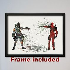 Star Wars Deadpool vs Boba Fett Bounty Hunter Poster Watercolor Print Wall Decor Fine Art Movie Poster Home Wall Hanging Star Wars Fans gift Boba Fett, Wall Prints, Poster Prints, Posters, Deadpool, Chasseur De Primes, Hanging Stars, Star Wars, Fans