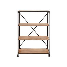 This chic blend of metal and wood shelves is too stylish to be kept stationary. Three light wood shelves contrast against a sturdy black metal frame and back crossbar. Neat black wheels help you move t...  Find the On the Go Metal and Wood Shelf, as seen in the Best of Industrial Sale Collection at http://dotandbo.com/collections/black-friday-style-sale-industrial?utm_source=pinterest&utm_medium=organic&db_sku=95034