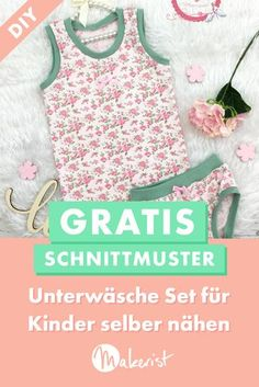 Sew underwear for Unterwäsche für Kinder nähen With a colorful undershirt and panties, your children are also nicely packaged underneath. The free sewing pattern & sewing instructions for the underwear set are available via Makerist. Baby Dress Patterns, Sewing Patterns Free, Free Sewing, Free Pattern, Kids Winter Fashion, Kids Fashion, Diy Mode, Sewing For Kids, Sewing Projects