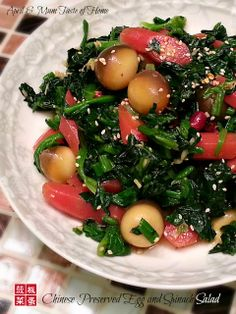 Chinese Preserved Egg and Spinach Salad - Light delight with exotic spices, sweetness and sour, improving health in dry/warm seasons #homemade_recipe #Chinese_recipe #vegetarian
