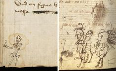 Medieval doodles: scribes tested their pens by writing short sentences and drawing doodles. Medieval Book Historian Erik Kwakkel Discovers and Catalogs 800 Year Old Doodles in Some of the Worlds Oldest Books. click through