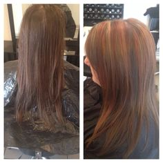 before and after! Red and blonde highlights❤️