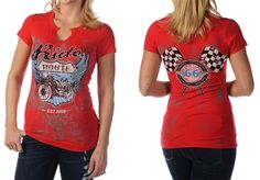 Liberty Wear Plus Rhinestud Biking Route 66 Distressed Tee. Women's red distressed neck tee printed with a motorcycle design and embellished with studs. short sleeve  made in the USA in 2X, 3X,4X