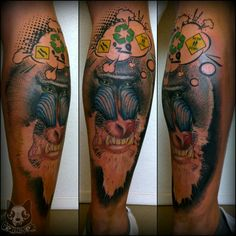 Thinking monkey tattoo ( realistic, animal, portrait,colour)