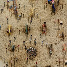 Disconnected playground forms become a semiotic study in this aerial photograph by Patrick Allen, found at heyhotshot.