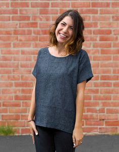 Boxy Tee designed by Purl Soho. Features various fabrics from our House of Linen collection. FREE pattern available at purlbee.com. #rkjuly15 #rkhouseoflinen