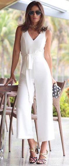 gorgeous white jumpsuit - Jumpsuits and Romper Outfit Essentials, Jumpsuit Outfit, White Jumpsuit, Girl Fashion, Fashion Dresses, Jumpsuit Pattern, Pants For Women, Clothes For Women, Jumpsuits For Women