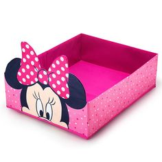 Put a stop to the messes on the floor for good! She will love to put all her belongs in the Minnie Mouse nesting storage bin. Bin is flat enough to fit under most beds and easy to slide out and in from under bed or a similar storage spot in her room.Minnie Mouse Bedroom Collection:Darling Minnie Mouse storage and play selections to delight her every day and night. Give her room a playful (and functional!) twist with sweet Minnie Mouse accessories.FEATURES• Pink bin with mult...
