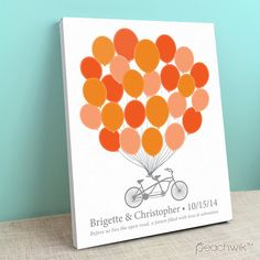 Wedding Guest Book Canvas - Tandem Bike - Bikewik - A Peachwik Personalized Stretched Canvas - 25 guest sign in - Balloons