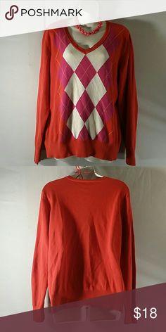 * V-neck Sweater  * * Orange Multicolor * Long Sleeve * Cotton * Bundle and Save St. John's Bay Sweaters V-Necks