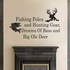 Fishing Poles And Hunting Gear Dreams Of Bass And Big Ole Deer - Country Wall Decals Quotes Nursery Living Room Bedroom Decor (Dark brown,l) -- Check this awesome product by going to the link at the image.