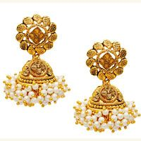 Kriaa Brown Austrian Stone Pearl Gold Plated Jhumki Earrings @ Rs. 329/-