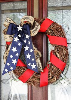 Happy Friday! Allison here, back with our last week of Patriotic goodness. It is Memorial Day weekend and with that comes a longer weekend so why not craft up one of these fabulous Patriotic Wreaths to place on your door for this holiday and the upcoming patriotic holidays?! 4th of July Wreath from Craftaholics Anonymous …