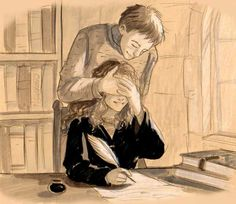Ron & Hermione in the library