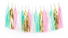 Our Bubblegum tassel garland is the perfect addition to any mint and pink party, 1st birthday party, pink and mint nursery decor, or baby shower decoration, and includes shades of pale pink, mint, gold metallic fleck and shiny gold mylar!   D E T A I L S & M E A S U R E M E N T S ===================================&...