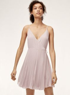 The shortened version of the Beaune wrap dress is made with a beautiful semi-sheer chiffon and is fully lined for coverage. Feel free to throw it in the wash — the permanent pleats will keep their shape. Grad Dresses, Dress Outfits, Short Dresses, Wrap Dress, Dress Up, Sheer Chiffon, Amazing Women, Summer Outfits, Cold Shoulder Dress