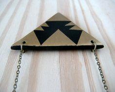 Aztec Triangle Polymer Clay Necklace :: AQuietCuriosity.etsy.com