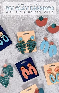 diy clay earrings made with the silhouette curio! Cut polymer clay with your Silhouette! #silhouette #clayearrings #claycrafts Diy Clay Earrings, Polymer Clay Necklace, Polymer Clay Pendant, Handmade Polymer Clay, Polymer Clay Ornaments, Polymer Clay Flowers, Polymer Clay Projects, Clay Design, Clay Charms