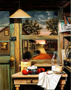 another beautiful kitchen Looking Out The Window, Country Scenes, Diy Home Crafts, Art Challenge, Art Club, Beautiful Kitchens, Rustic Style, Beautiful Landscapes, Painting Inspiration