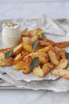duck fat roasted potatoes with grainy mustard dip