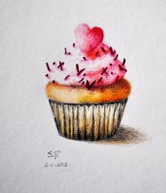 Valentines Cupcake  Original Colored Pencil by PrismaticColours, 32.00