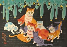 Mama & Kittens  Kittens playing with Mama watching Artist's signature on the lower left hand corner. Hand painted Original Approximate size unframed 31 inches high x 22 inches wide FREE SHIPPING