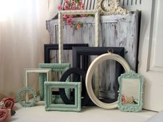 Dark Gray, Mint and Cream Ornate Frame Set, Cottage Chic Distressed Open Frames, Oval Frame, Set of 9 Frames and Ornate Mirror