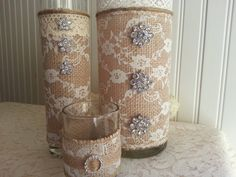 LARGE BURLAP and Lace Vase Victorian Rustic Barn by ASplendidThing, $22.00