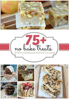 No Bake Desserts: from Fudge to Krispie Treats to No-Bake Cookies. Come see all the delicious goodies in one place at Shugary Dessert Dessert No Bake Treats, No Bake Desserts, Just Desserts, Yummy Treats, Delicious Desserts, Sweet Treats, Dessert Recipes, Yummy Food, Dessert Healthy